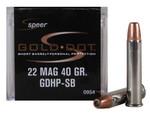 Speer Gold Dot Short Barrel Ammunition 22 Magnum (WMR), Gold Dot Hollow Point (HP), 40 GR, 1050 fps, 50 Rd/box - 0954