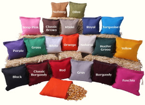 Regulation size bean bags are available in 20 colors.
