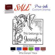 SPECIAL CUSTOM: Butterfly & Flower Style: Pre-ink Stamp