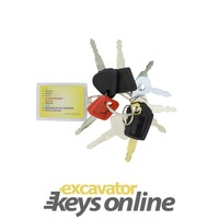 Excavator Key Set (9 Keys for Caterpillar, Komatsu, Hitachi, Volvo, Kobelco/ Terex/ Bomag/ Manitou / New Holland / Newson / Moxy / JCB, Takeuchi, Lucas, JCB / Sumitomo / Case and Case Mini Excavators)