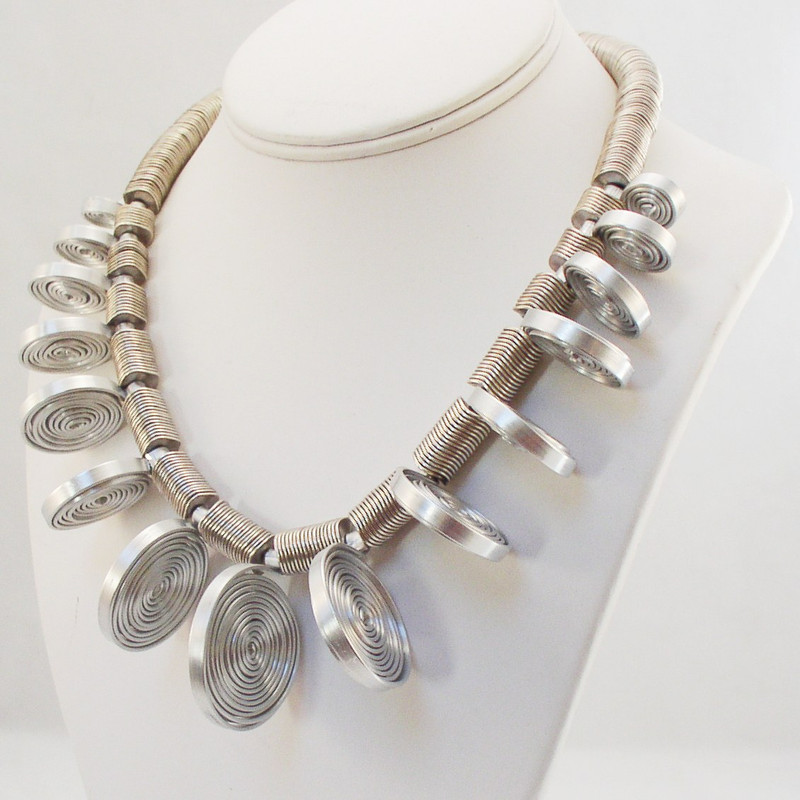 Stand Up Brushed Aluminum Spiral Necklace - Demetra