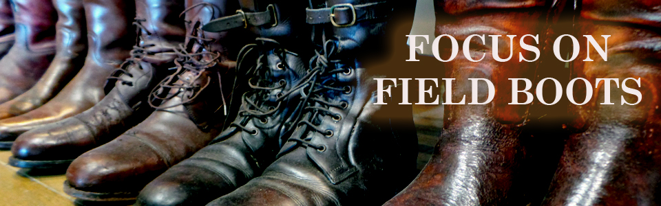 Focus on field boots, men's cubbing boots, vintage boots, second hand boots