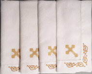 Orthodox Cross Linens, set of four dinner napkins. Gold cross design.