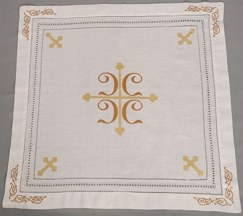 Orthodox Cross Linens, Pascha basket or Slava kolach cover. Cross with four C's design.