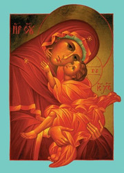 Mother of God icon card (aqua border) individual card