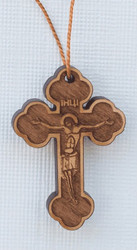 Laser-engraved Wood Neck Cross, budded. Made in Serbia.