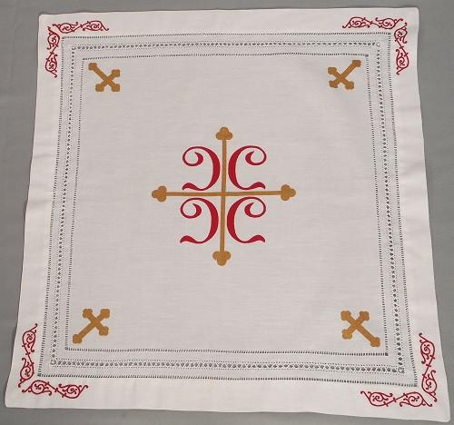 Orthodox Cross Linens, Pascha basket cover / Slava Kolach. Four red C's.