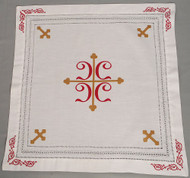 Orthodox Cross Linens, Pascha basket cover / Slava Kolach. Four red C's.