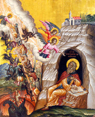 St John and the Ladder of Ascent, large icon. Saint John Climacus is depicted as a hermit, writing his well-known book The Ladder of Divine Ascent.