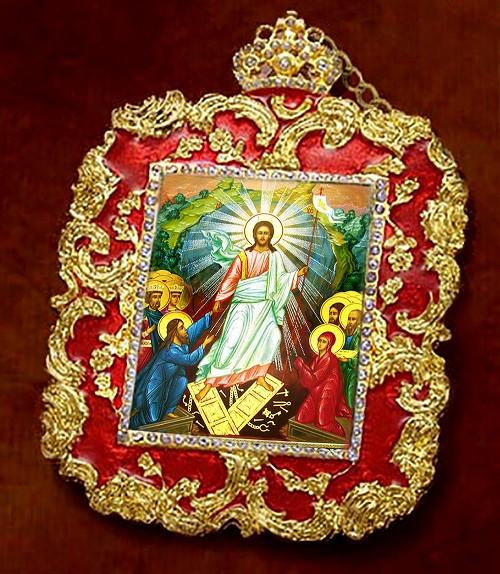 Jesus Christ Resurrection, Faberge-style frame, small icon