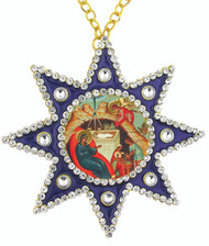 Ornament, icon of the Nativity in blue star-shaped frame