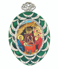 Ornament, icon of the Nativity of Christ in an oval-shaped frame
