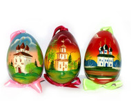 Ornament, egg-shaped with assorted church scene