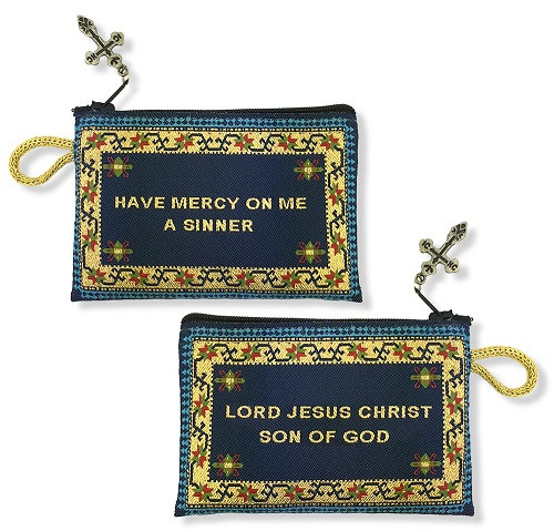 Tapestry pouch, Jesus Prayer, blue