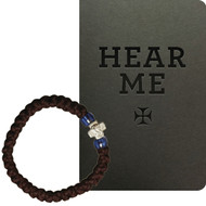 For Girl: Hear Me / Prayer Bracelet, 33 knots with silver-tone cross and blue beads