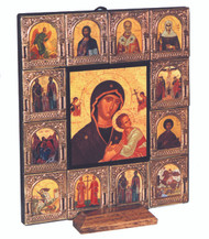 Virgin Mary surrounded by 12 small icons