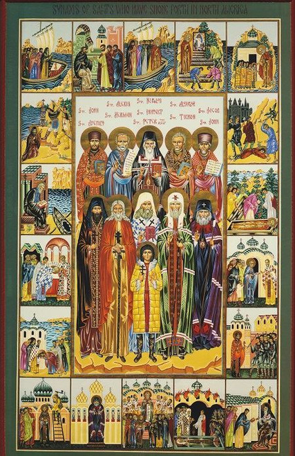 American Saints, large icon. Saints that planted the seed and fostered the growth of Orthodoxy in North America.