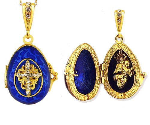 Egg Pendant Locket, Fabergé style with angel inside, blue and gold