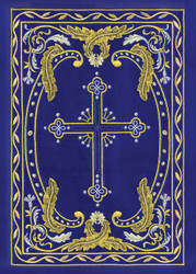 Embroidered Cross Blue, pack of 10 blank note cards