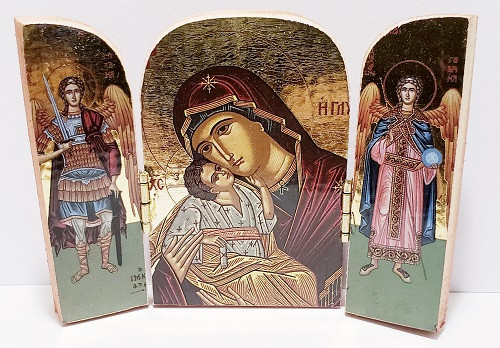 Triptych: Christ and Mother of God with archangels, medium icons