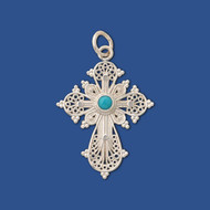 008142 Filigree Cross, sterling silver with turquoise inset