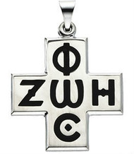Phos-Zoe Cross, sterling silver with black inlay, chain included