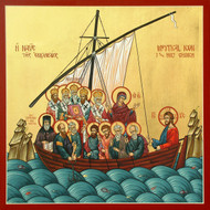 The Mystical Church, medium icon, depicts the Church as an ark of salvation led by Christ but filled with His holy ones.