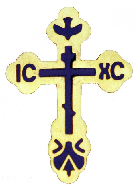 St. Xenia Cross Lapel Pin, gold-tone with blue inlay