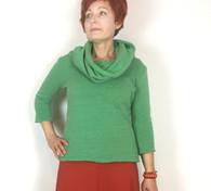 Cozy Cowl Top - heather green ti-blend