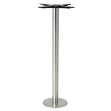 "Round Table Base, Brushed Stainless Steel, 42-1/2"" height, 8"" bolt down round base, 3""diameter steel column - replacementtablelegs.com"