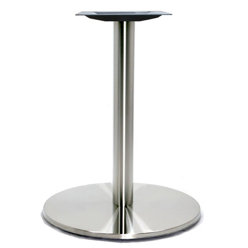 Round Stainless Base Coffee Height Tables: Round Pedestal Table Base, Brushed Stainless Steel, 28-5/8