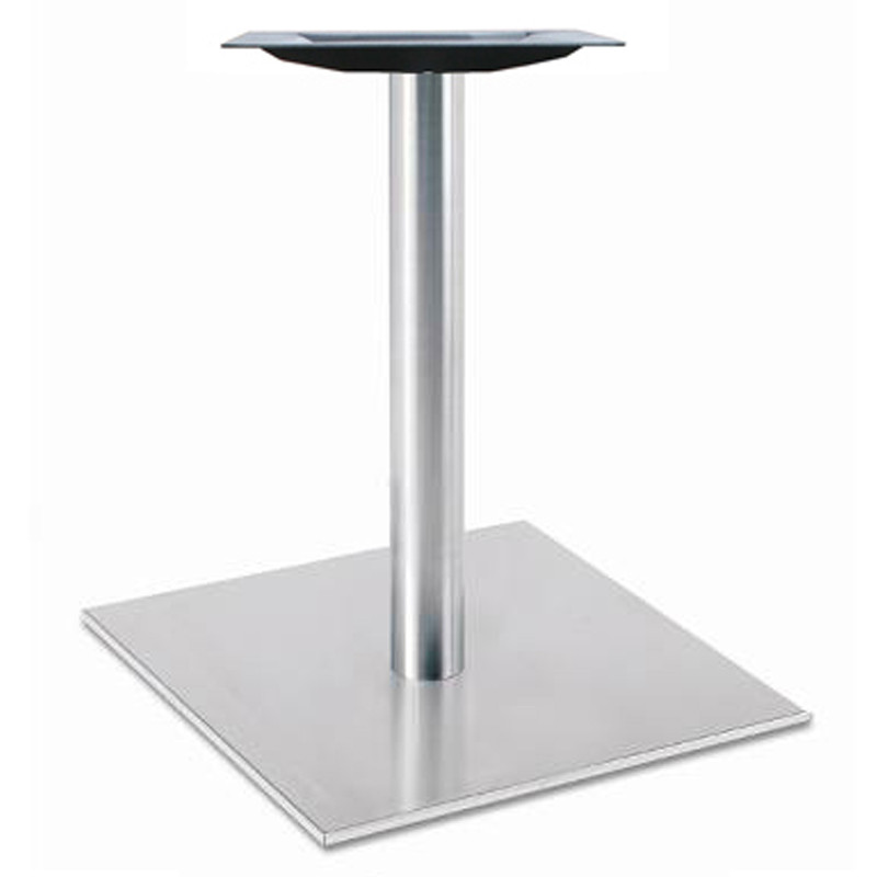 Round Stainless Base Coffee Height Tables: Square Pedestal Table Base, Brushed Stainless Steel, 28-5