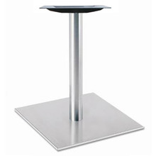 """Square, Brushed Stainless Steel Table Base, 28-3/8"""" height, 22"""" square base, 3""""diameter steel column - replacementtablelegs.com"""