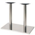 "Square, Brushed Stainless Steel Table Base, 28-3/8"" height, 16""x28"" square base, two 3""diameter steel columns - replacementtablelegs.com"