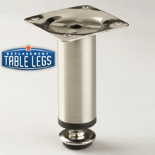 Della Cabinet Leg, Brushed Steel, 4'' Cabinet Leg,  1-3/16'' diameter, 1/2'' adjustable foot - replacementtableleg.com