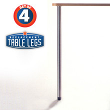 "Slim Table Legs, 27-3/4"" table height, 1-3/8"" diameter, 1"" adjustable foot, chrome - replacementtablelegs.com"