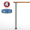 "SET of 4, 34-1/4"" height, Zoom Table Legs, 2-3/8'' diameter leg 4"" adjustable foot, Chrome"