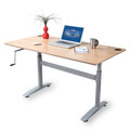 "Height adjustable hand crank desk frame. Height adjustment is 26-1/2"" to 39-3/4"". Finished in silver. Tabletop and display items not included with purchase. - replacementtablelegs.com"