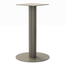 "Round Pedestal Base, 27-3/4"" Height, 18"" Base Diameter, 4"" diameter Column, with welded mounting plate - Replacementtablelegs.com"