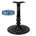 "CAST IRON ORNAMENTAL TABLE BASE, 24"" round base, Semi-Gloss Black, 28-1/2"" height, cast iron column with steel plate attachment - replacementtablelegs.com"
