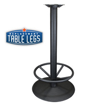 "Table Base 22"" round with foot ring, 40-3/4"" High, Black Matte finish, Steel Tube with Cast Iron Base and 9"" mounting plate - replacementtablelegs.com"