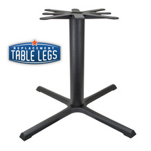 "CAST IRON TABLE BASE, X Style 40""x40"", 28-1/2"" height, 4"" diameter steel column - replacementtablelegs.com"