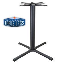 "CAST IRON TABLE BASE, X Style 40""x40"", 40-1/4"" height, 4"" diameter steel column - replacementtablelegs.com"