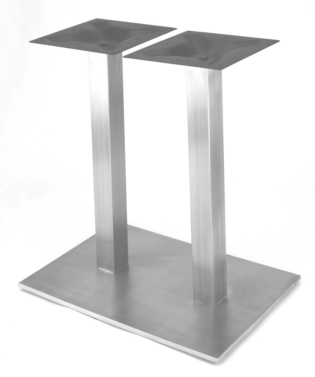 "Coffee Height Round Large Table Base Round Column: Rostek Nikai Stainless Steel, 28.2"" Dining Height, 18 X 27"