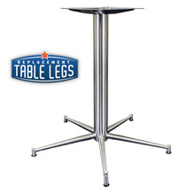 "Ravenna Series 5-prong, (28-1/2"" height version shown) stainless steel pedestal table base shown without top."