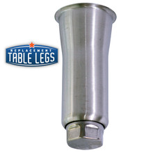 Heavy Duty Flared Equipment Leg, Food Grade Stainless Steel, 6'' Equipment Leg,  2'' diameter, 1-7/16'' adjustable foot - replacementtablelegs.com