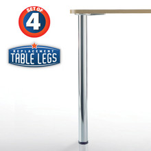 "Prisma, Chrome, 27-3/4"" height, 2-3/8'' diameter leg 1-1/8'' adjustable foot - replacementtablelegs.com"
