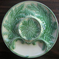 French Yellow Green Majolica Leaf Scroll Elegant Vintage Plate
