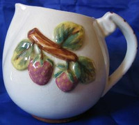 Decorative Pitcher -  Vintage California Pottery Majolica Fruit USA