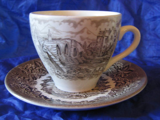 Decorative Cup and Saucer - Brown Toile Transferware